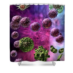 Immune Response Cytotoxic 4 Shower Curtain by Russell Kightley
