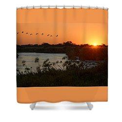 Impalila Island Sunrise Shower Curtain