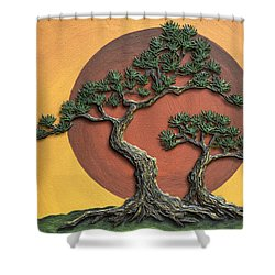 Impasto - Bonsai With Sun - One Shower Curtain by Lori Grimmett