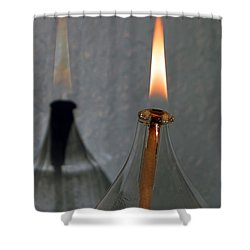 Shower Curtain featuring the digital art Impossible Shadow Oil Lamp by Jana Russon