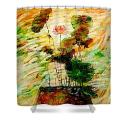 Impression In Lotus Tree Shower Curtain