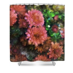 Bronze And Pink Mums Shower Curtain