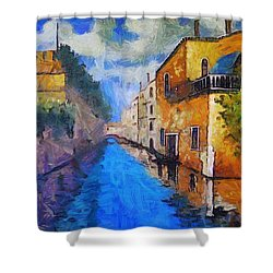 Impressionist D'art At The Canal Shower Curtain by Mario Carini