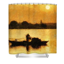 Shower Curtain featuring the digital art Impressionist Dawn by Cameron Wood