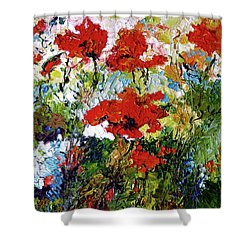 Impressionist Red Poppies Provencale Shower Curtain by Ginette Callaway
