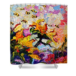 Impressionist Sunflowers And Bees Shower Curtain by Ginette Callaway