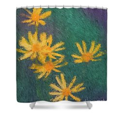 Impressionist Yellow Wildflowers Shower Curtain