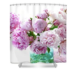 Shower Curtain featuring the photograph Impressionistic Romantic Pink Peonies Watercolor Romantic Floral Decor - Pink Peony Decor by Kathy Fornal