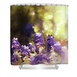 Shower Curtain featuring the digital art Impressions Of Muscari by Lois Bryan