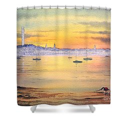 Shower Curtain featuring the painting Impressions Of Provincetown by Bill Holkham