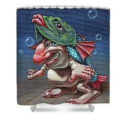 In A Fish Suit. Shower Curtain
