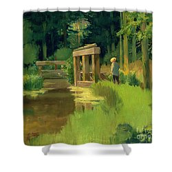 In A Park Shower Curtain by Edouard Manet