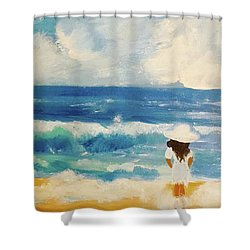 In Awe Of The Ocean Shower Curtain by Angela Holmes