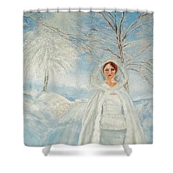 In Beauty I Walk Shower Curtain by Lyric Lucas