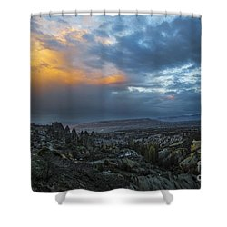 In Between Uchisar And Goreme Shower Curtain by Yuri Santin
