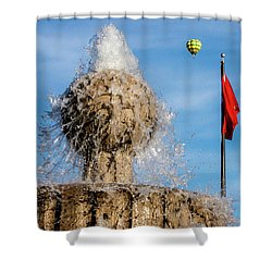 In Flight Over Flags Shower Curtain
