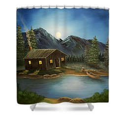 In For The Night Shower Curtain by Sheri Keith