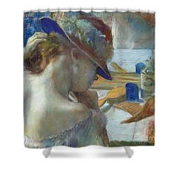 In Front Of The Mirror Shower Curtain by Edgar Degas