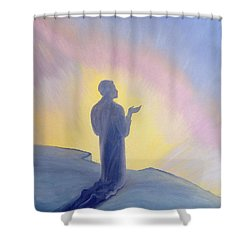 In His Life On Earth Jesus Prayed To His Father With Praise And Thanks Shower Curtain by Elizabeth Wang