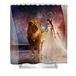 In His Presence  With Title Shower Curtain