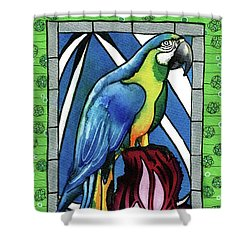 Shower Curtain featuring the painting In Love With A Macaw by Dora Hathazi Mendes
