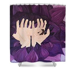 Shower Curtain featuring the painting In Loving Hands by Cheryl Bailey