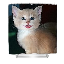 Shower Curtain featuring the digital art In Memoriam Baby Gussy by Holly Ethan