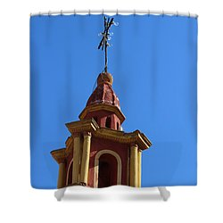 In Mexico Bell Tower Shower Curtain by Cathy Anderson