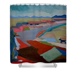 Shower Curtain featuring the painting In My Land by Francine Frank