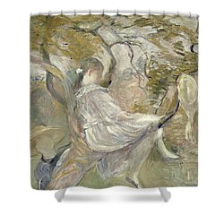 In The Apple Tree Shower Curtain by Berthe Morisot
