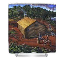 In The Beginning - University Of Notre Dame Chapel - Indian Chapel - Log Cabin Landscape Painting Shower Curtain
