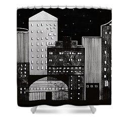 In The City Shower Curtain by Kathy Sheeran