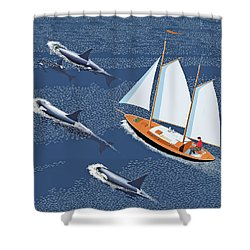 Shower Curtain featuring the digital art In The Company Of Whales by Gary Giacomelli