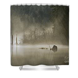 Shower Curtain featuring the photograph In The Fog by Inge Riis McDonald