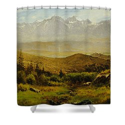 In The Foothills Of The Rockies Shower Curtain by Albert Bierstadt