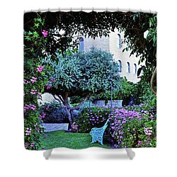 In The Garden At Mount Zion Hotel  Shower Curtain