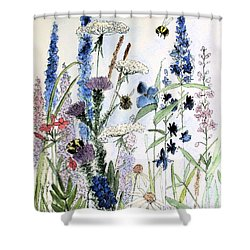 Shower Curtain featuring the painting In The Garden by Laurie Rohner