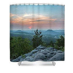 In The Land Of Mesas Shower Curtain by Andreas Levi
