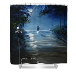 In The Loving Moonlight Shower Curtain by Leslie Allen