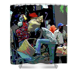 In The Market Place Shower Curtain by B Wayne Mullins