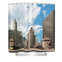 In The Middle Of Wacker And Michigan Shower Curtain