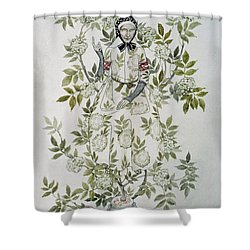 In The Midst Of A Tree Sat A Kindly Looking Old Woman' Shower Curtain by Arthur Rackham