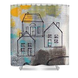 In The Neighborhood Shower Curtain by Linda Woods