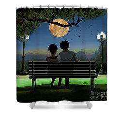 In The Park After Dark Shower Curtain