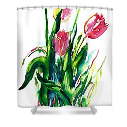 In The Pink Tulips Shower Curtain
