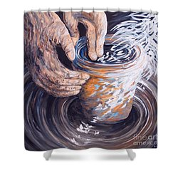 In The Potter's Hands Shower Curtain by Eloise Schneider