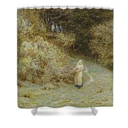 In The Primrose Wood Shower Curtain by Helen Allingham