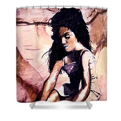 Shower Curtain featuring the digital art In The Sand by Pennie  McCracken