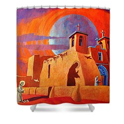 Shower Curtain featuring the painting In The Shadow Of St. Francis by Art West