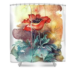 Shower Curtain featuring the painting In The Turquoise Coat by Anna Ewa Miarczynska